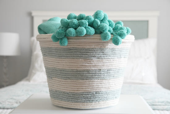 DIY dollar store rope laundry basket makeover