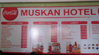 The menu board of Muskan hotel