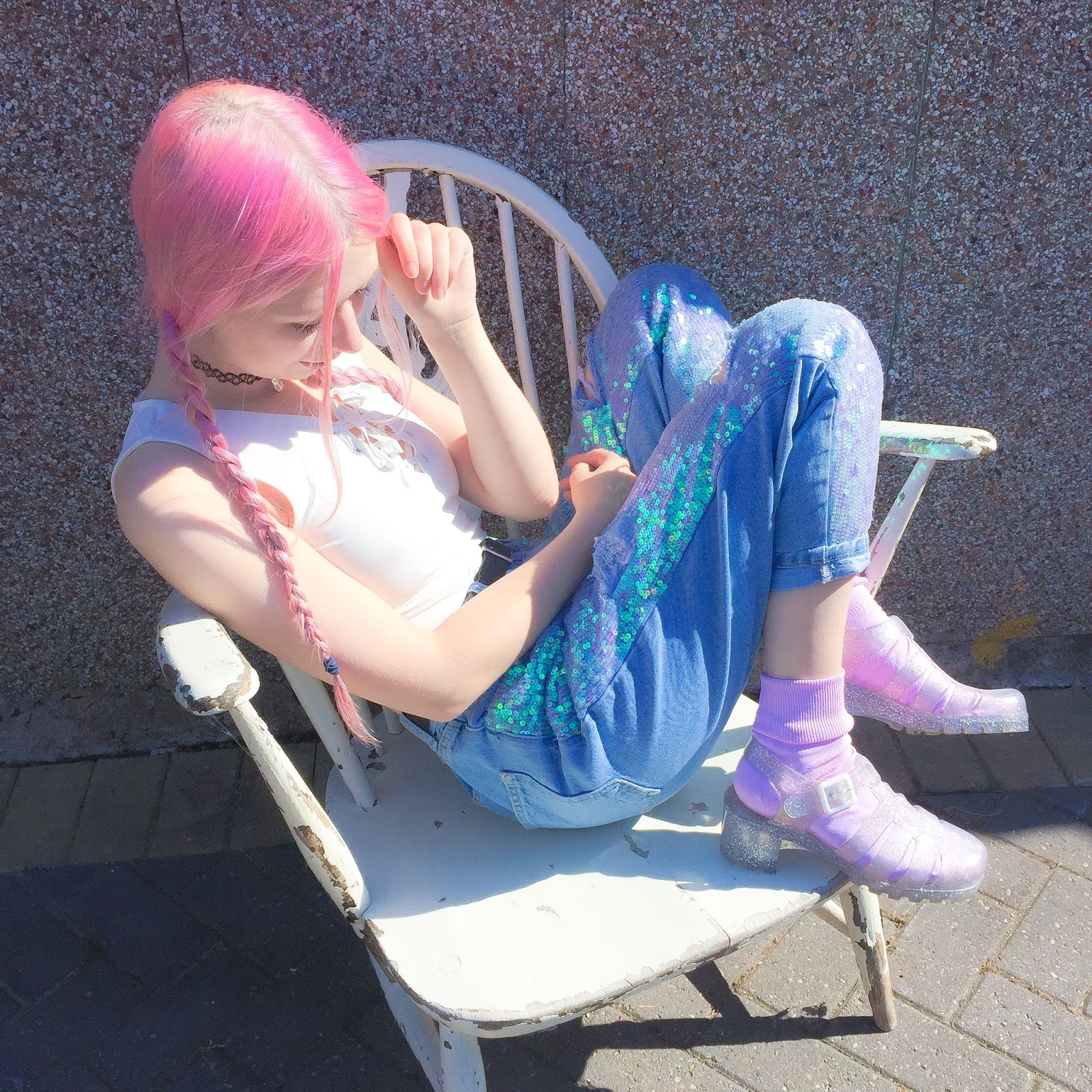 187cd53096c17 LACE UP CROP TOP TOPSHOP SEQUIN MERMAID JEANS  TOPSHOP PINK SOCKS   WE LOVE  COLOURS GLITTER JELLIES  JUJU FOOTWEAR available   TOPSHOP   OFFICE