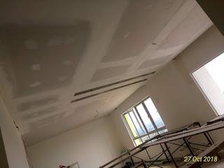 Pemasangan plaster siling dan wiring lampu dan kipas di ruang tamu