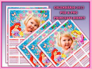 Calendário 2017 Editável - Princesas