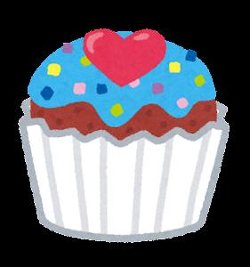 カップケーキのイラスト(青)