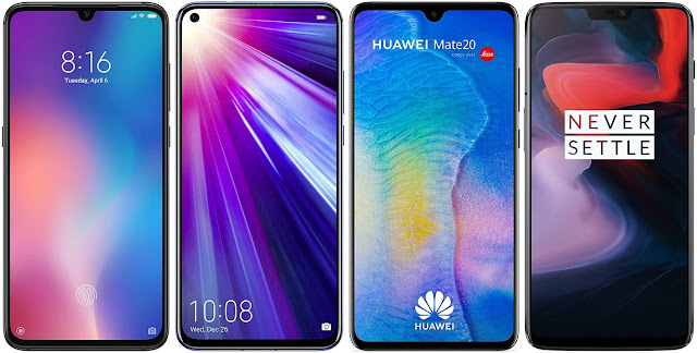 Xiaomi Mi 9 64G vs Honor View 20 128 GB vs Huawei Mate 20 vs OnePlus 6 256 GB