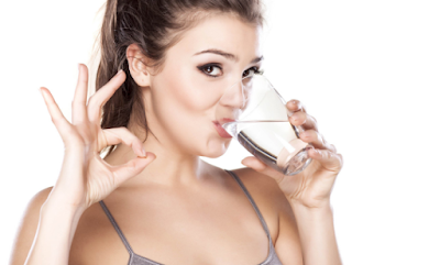 lady drinking water