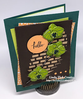 Linda Vich Creates: Fresh Spring Orchids. Lemon Lime Twist Climbing Orchids are featured on this card, displayed on a backdrop of Peekaboo Peach embossing paste bricks.