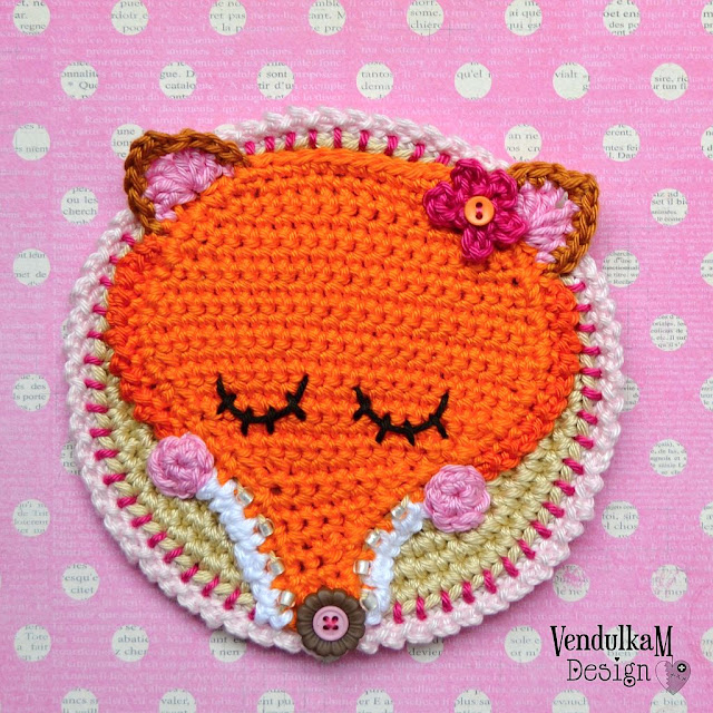Crochet pattern - Crochet fox coaster by Vendula Maderska