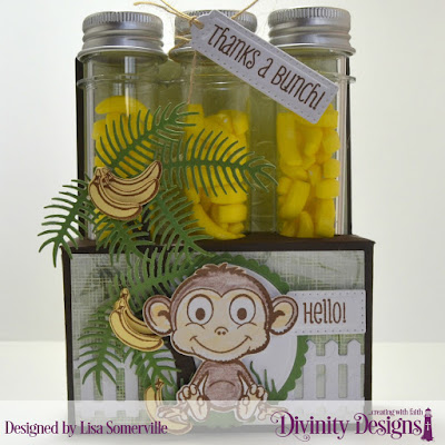 Stamp Set: North Coast Creations Thanks a Bunch  Custom Dies: Test Tube Trio, Circles, Scalloped Circles, Monkey & Bananas, Fence, Ferns, Birdies (for tree branch)  Embossing Folder: Flourishes  Paper Collection: Christmas 2018  Test Tubes: Large