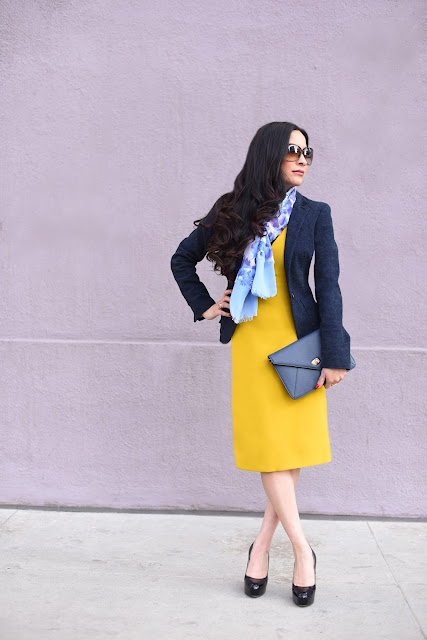 Joanna Joy A Stylish Love Story Fashion Blogger Petite Fashion Blogger yellow Zara shift dress Vera Wang floral blue and purple scarf Armani Exchange navy blue wool Jacket Black Patent Leather Platform Heels Brian Atwood heels Tom Ford brown sunglasses Sorelli blue envelope clutch