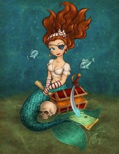 sexy mermaid pirate with treasure