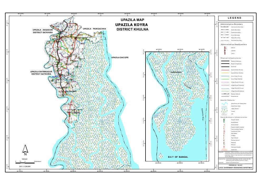Koyra Upazila Map Khulna District Bangladesh