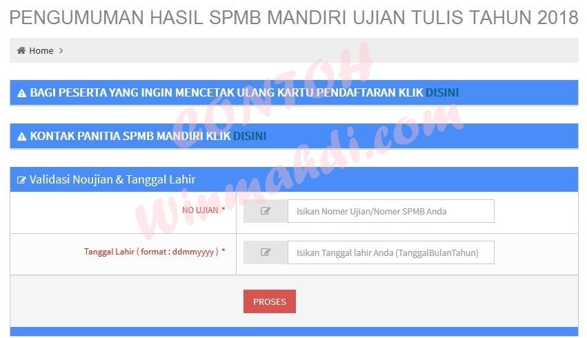 Pengumuman Hasil Ujian SPMB Mandiri Ujian Tulis UNSOED