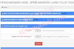 Pengumuman Hasil Ujian SPMB Mandiri Ujian Tulis UNSOED 2018/2019