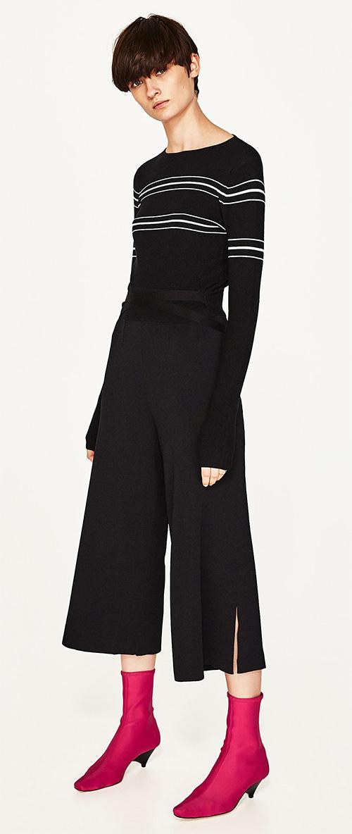 Pull femme Zara noir et blanc à rayures