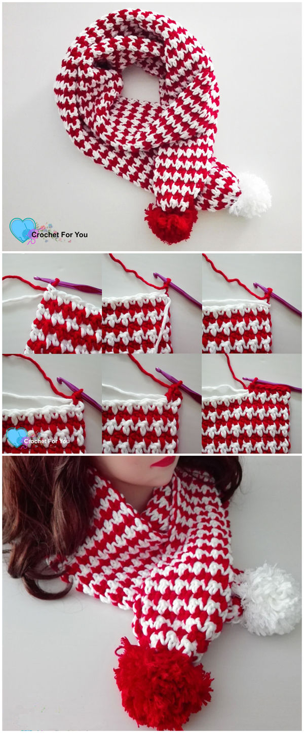 Peppermint Houndstooth Scarf Free Crochet Pattern