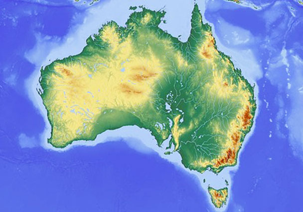 The relief of the country of Australia