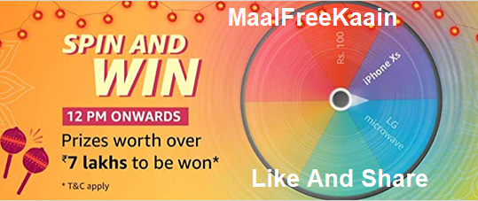 Amazon Spin And Win an iPhone XS And Rs 7 Lakh Prizes - Freebie