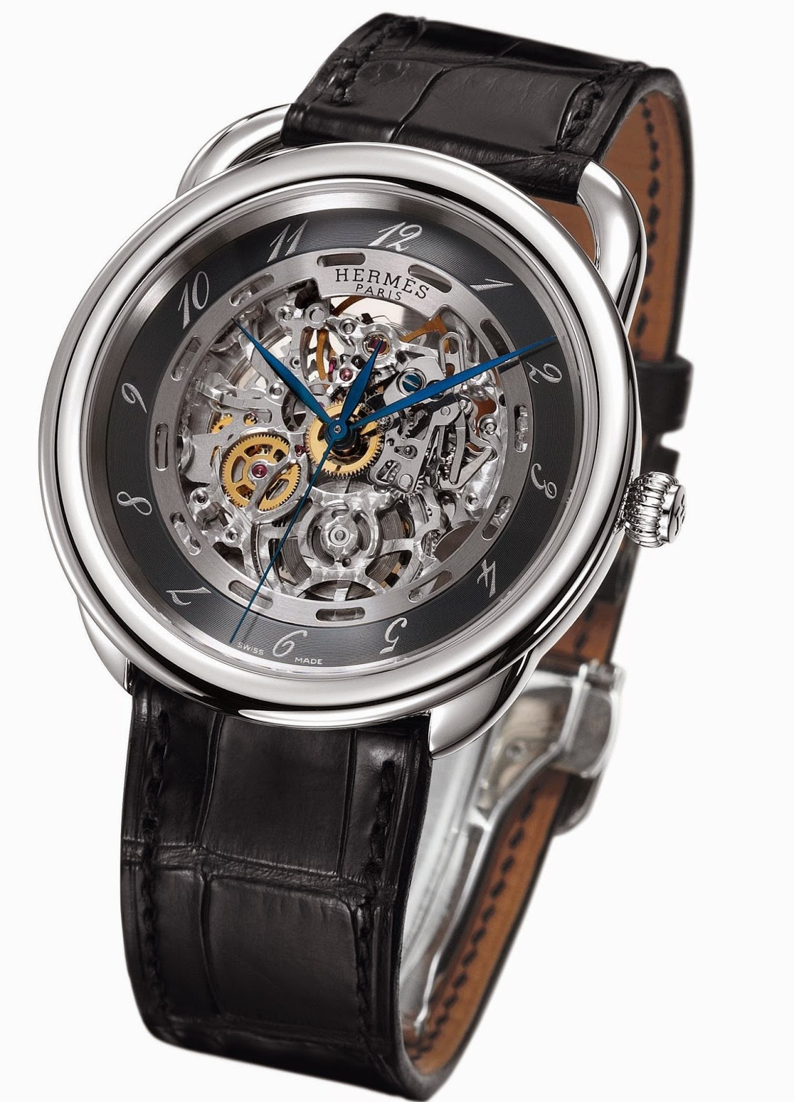 Hermès Arceau Skeleton watch with Steel case