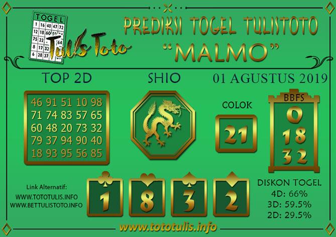 Prediksi Togel MALMO TULISTOTO 01 AGUSTUS 2019