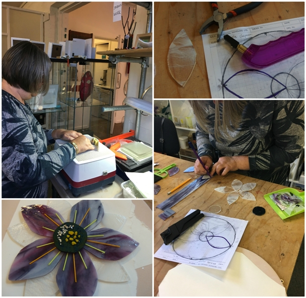 Collage showing stages, techniques and final flower prior to the fusing process