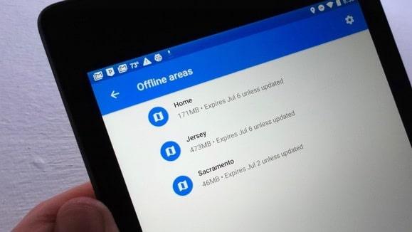 Thủ thuật android, Xóa các khu vực ngoại tuyến trong Google Maps