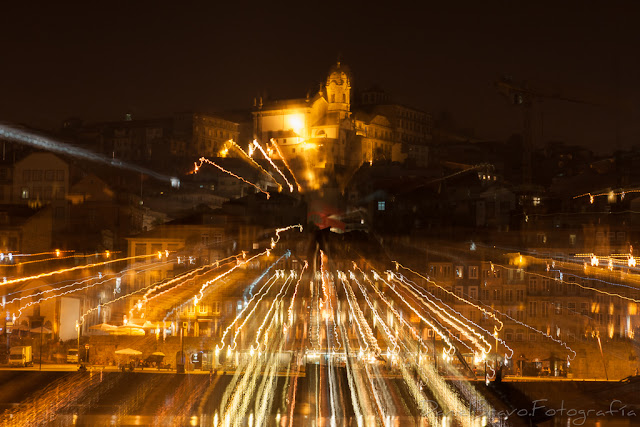 Nocturna de Oporto con la técnica de zooming
