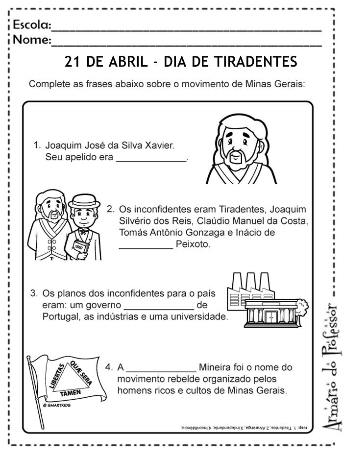 Amado Plano de Aula - Tiradentes | Armário do Professor SC11
