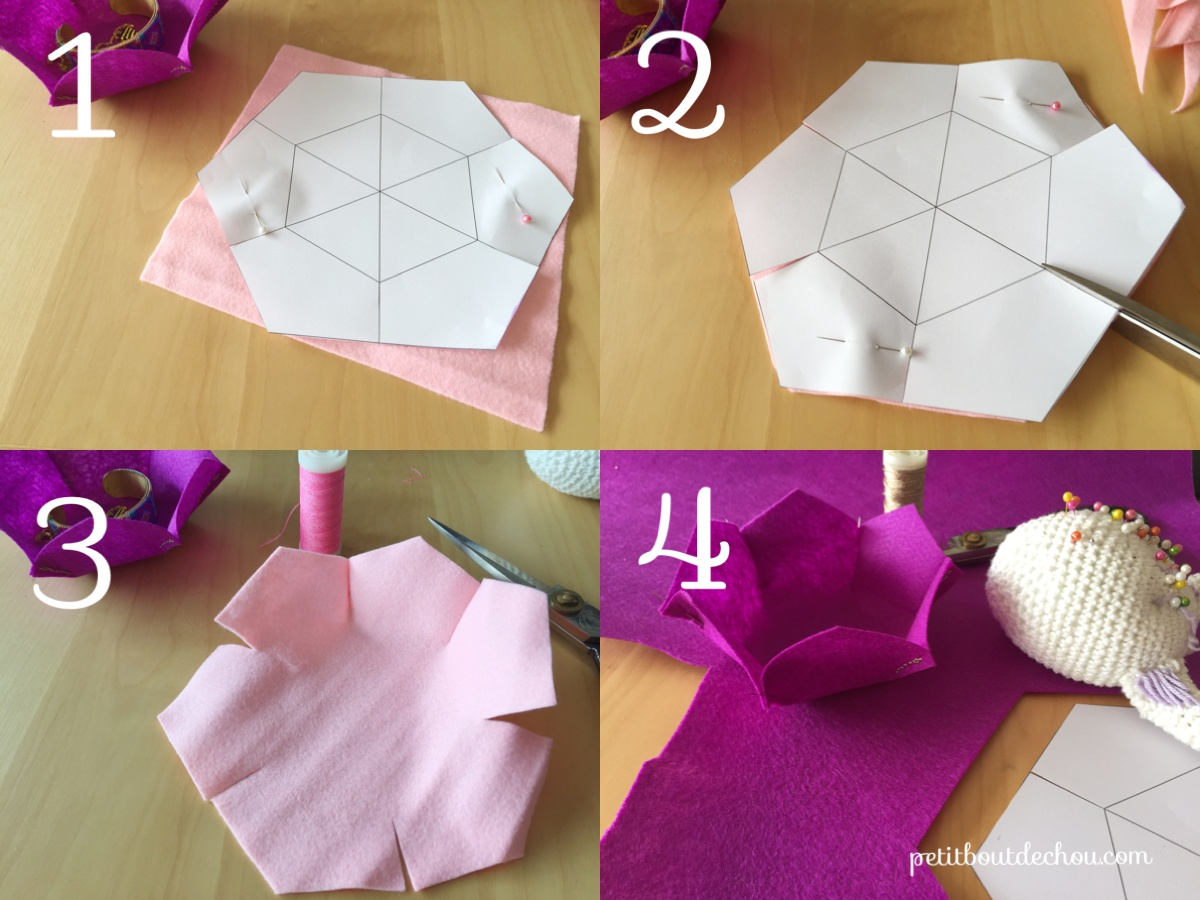 Diy Flower Shaped Felt Basket Petit Bout De Chou