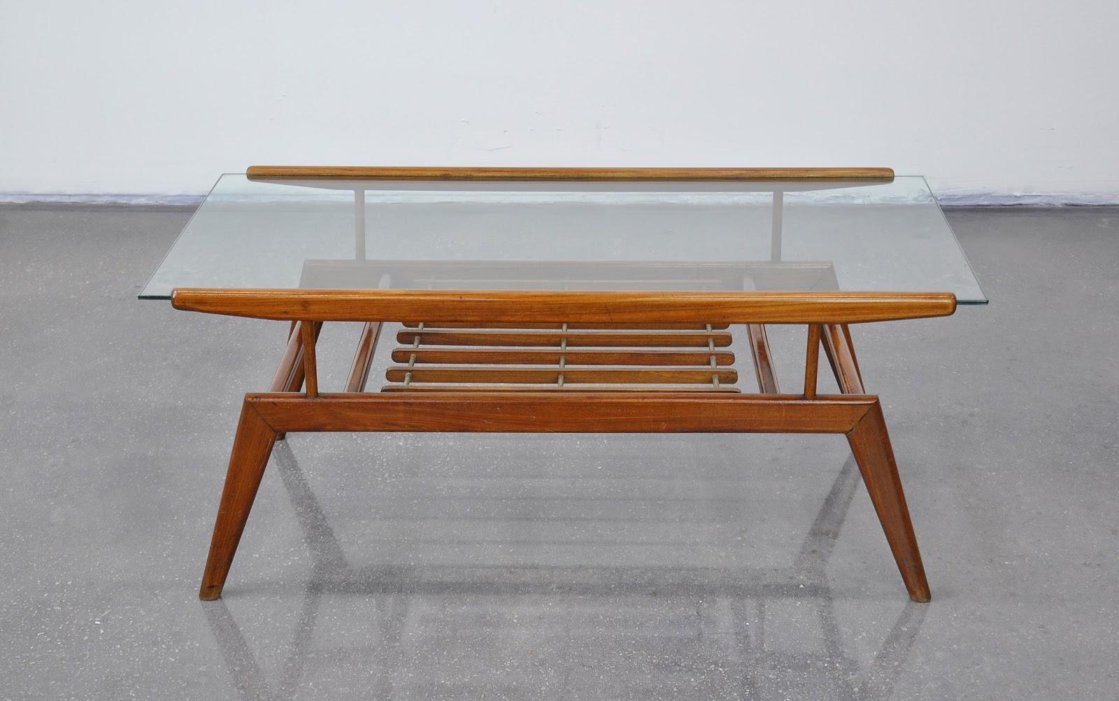Select Modern Gio Ponti Style Walnut And Glass Coffee Table
