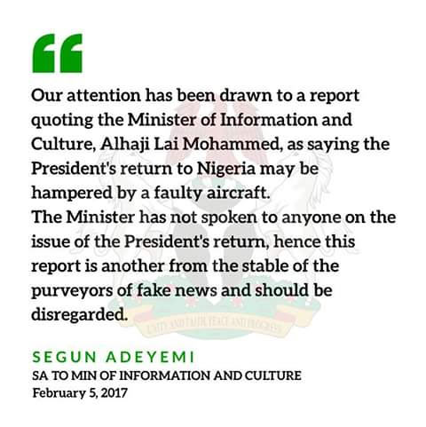 """""""Buhari did not arrive Nigeria because his plane developed fault"""": Lai Mohammed denies comment"""
