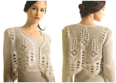 Chaleco corto picos gráfico crochet