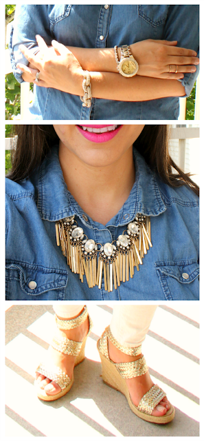 Pave Chain Bracelet, Gold Watch, Showgirl Fringe Necklace Baublebar, Gold Espadrille Wedges