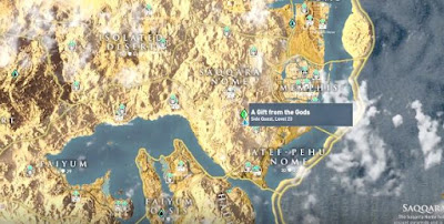 AC Origins, A Gift From The God, Side Quest, Location Map