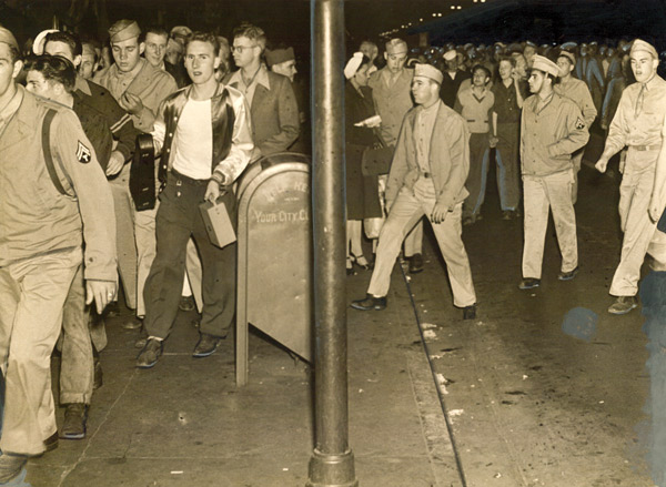 Uniformed servicemen rioted throughout Los Angeles, targeting young men in zoot suits, 1943 Courtesy of the Los Angeles Examiner Collection, USC Libraries