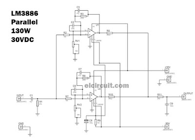Circuit Diagram of Parallel LM3886