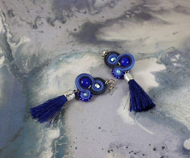 navy blue soutache earrings with tassels