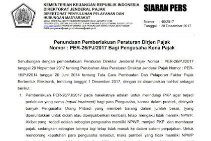 Penundaan Pemberlakuan PER-26/PJ/2017 Bagi Pengusaha Kena Pajak