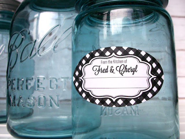 Custom Gingham Oval From the Kitchen canning jar labels