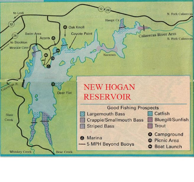 Fishing Map New Hogan reservoir and 2016 Fishing Report, how to fish new hogan