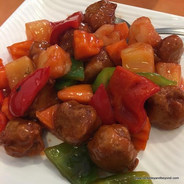 sweet & sour soy chicken at Enjoy Vegetarian Restaurant in San Francisco, California