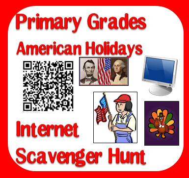 Free American Holidays internet scavenger hunt to help kids learn about Thanksgiving, Fourth of July, Veterans Day, Memorial Day and more. Download free from Raki's Rad Resources.