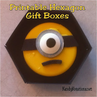 Make your own birthday or Christmas gift boxes with this free printable hexagon template that can be made into a 2 1/2 inch gift box.  It's so easy and great for giving little treats, sweets, or gifts everyday.