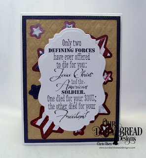 Our Daily Bread Designs, Defining Forces, Vintage Labels, Double Stitched Stars. Sparkling Stars, Lattice Background dies, by Chris Olsen