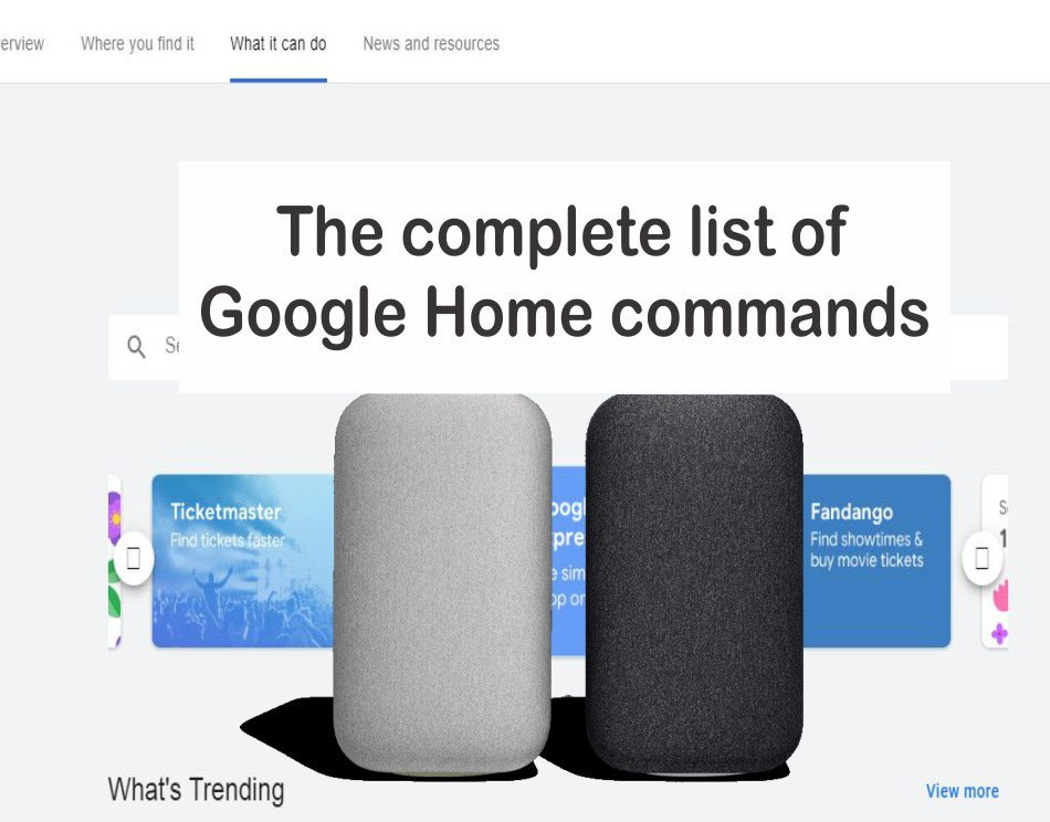 List of Commands Google Home commands