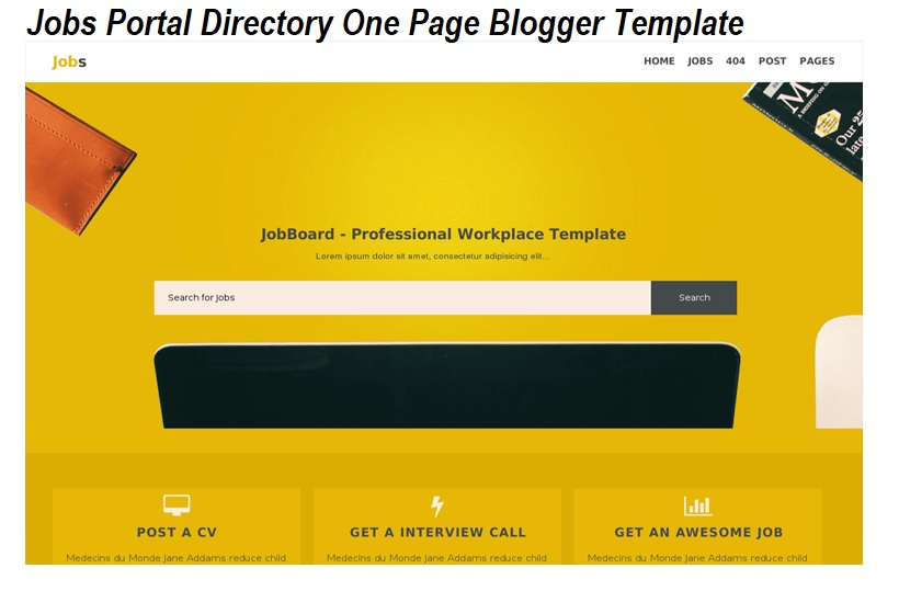 Jobs Portal Directory One Page Blogger Template