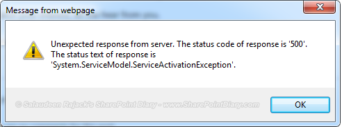 SharePoint 2013 Error: Unexpected response from server  The