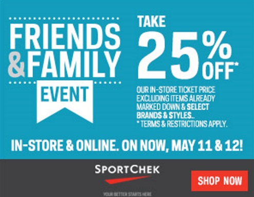 Sportchek 25% off Friends & Family Event