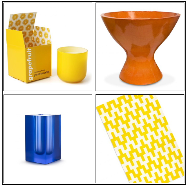 Cobalt, orange and yellow seen at jonathanadler.com via Cozy•Stylish•Chic