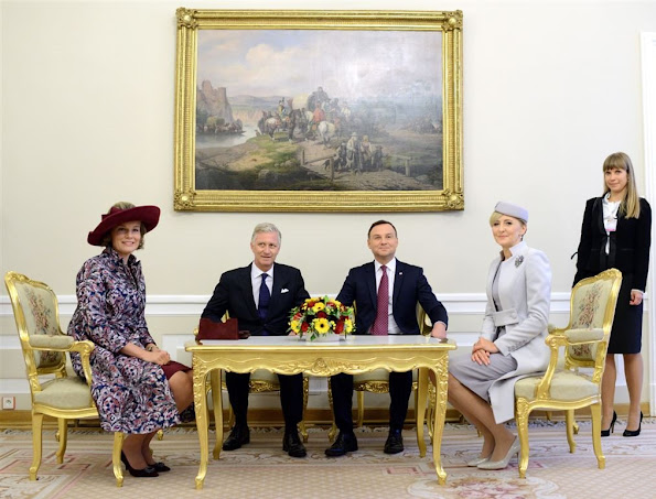 Queen Mathilde of Belgium with Polish President Andrzej Duda and Polish First Lady Agata Kornhauser-Duda