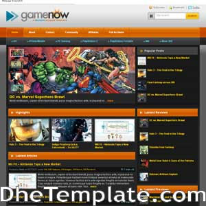 GameNow blogger template. blogger template magazine style. games template blogspot free