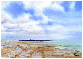 浅瀬の向こうに見える小島。沖縄、久米島の風景を水彩画にしました。高い青空が南国の雰囲気を出しています。